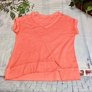 Calvin Klein Coral Short Sleeve V-Neck Top Sz L